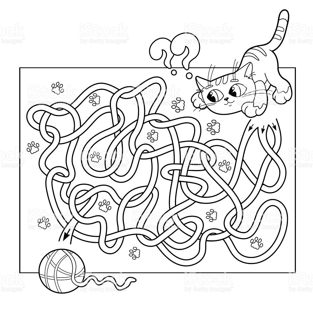 Cartoon Vector Illustration Of Education Maze Or Labyrinth Game For Sports Coloring Pages Coloring Books Coloring Pages