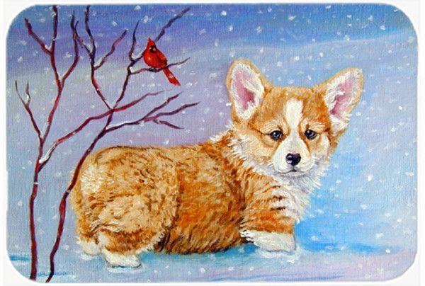 Corgi Pup Snow Cardinal Kitchen/Bath Mat