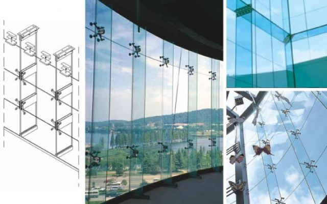 Glass Supported Transparent Facade Glass Fins And Ribs Are Widely