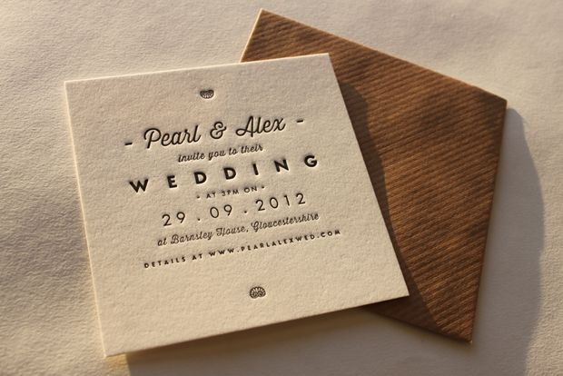 Wedding Invites Letterpress: Very Short Wording Here With Signpost To Wedding Website