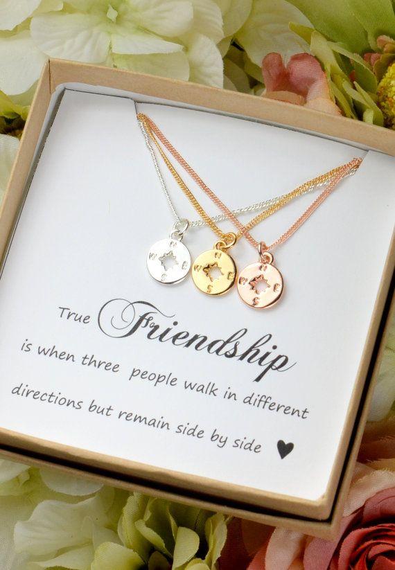 Best Friend Gift Rose Gold Compass Necklace Best Friend