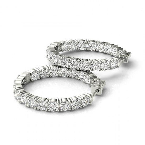 5 4 Carat Forever Brilliant Moissanite Hoop Earrings 14k White Gold Inside Out For Women 18k Or Platinum