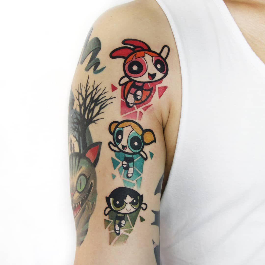 "Powerpuff Girls tattoo ˈpɑːlɪk_SJ / 상진 on Instagram """