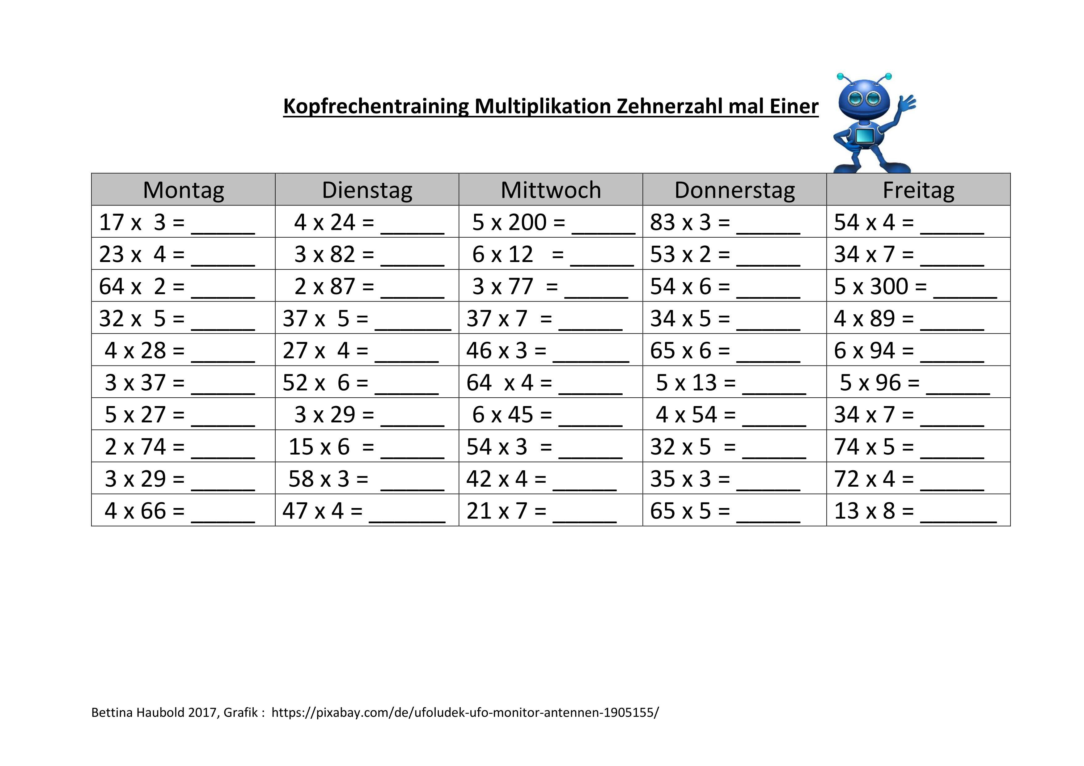 Kopfrechentraining Multiplikation Zehnerzahl mal Einer – Mathematik ...