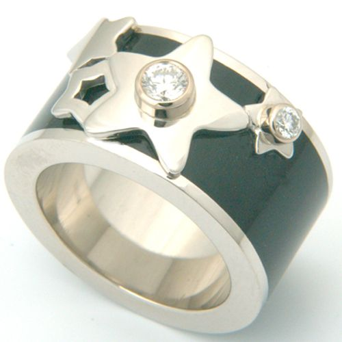 Platinum Diamond And Black Enamel Engagement Ring. At Form