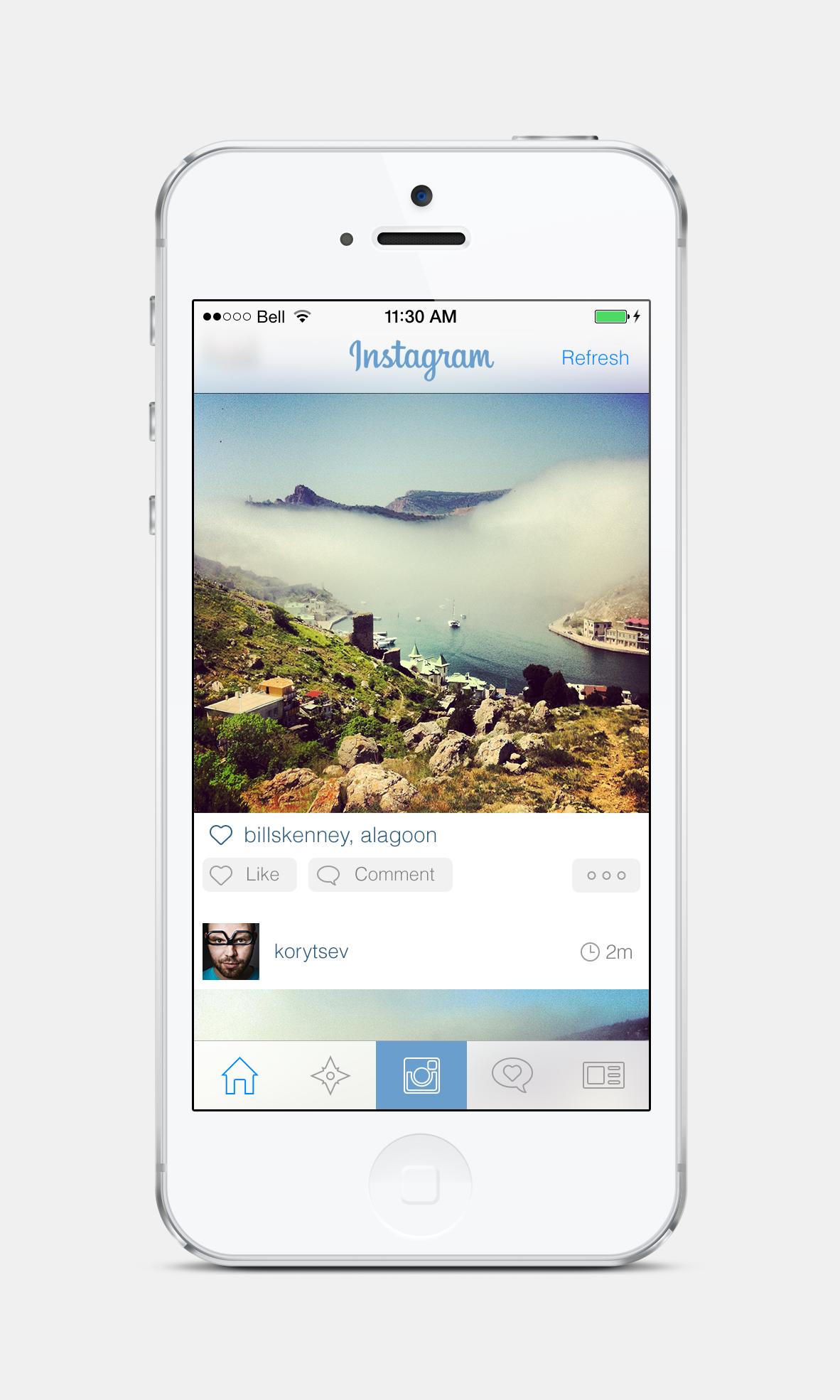 Instagram iOS7 Diseño web, Ipad, Iphone