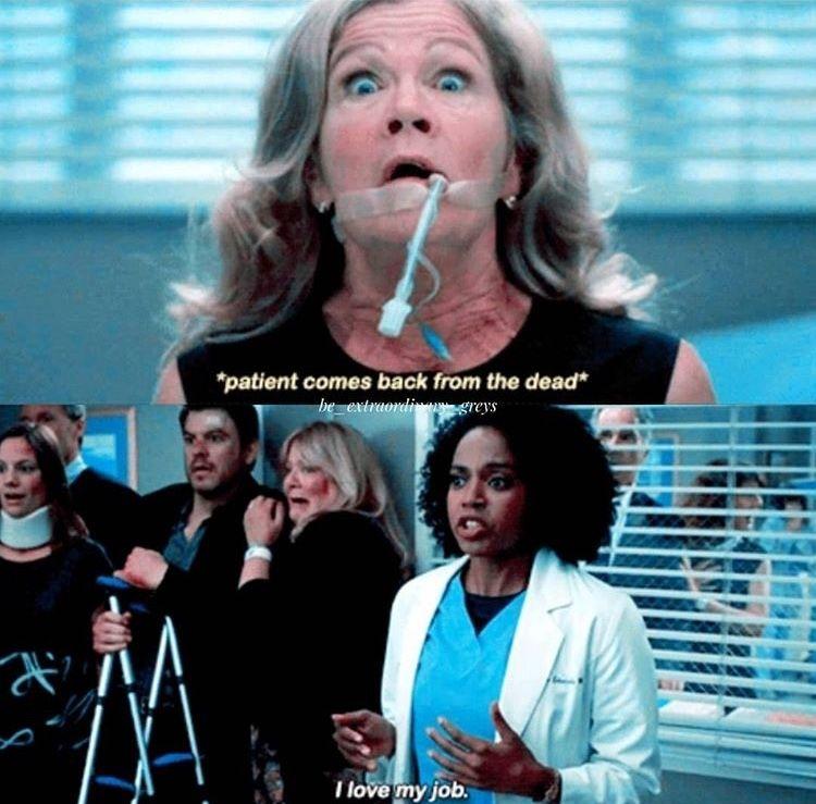 * el paciente regresa de entre los muertos * Stephanie Edwards: Me encanta mi trabajo. #greysanatomy