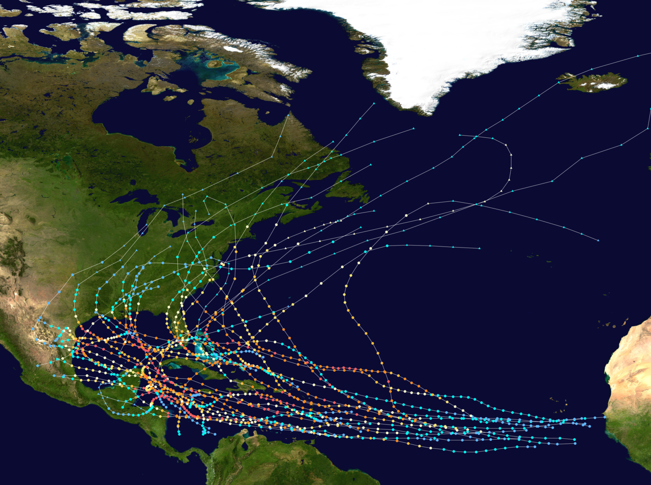 The Path Of Every Recorded Western Hemisphere Hurricane Atlantic Hurricane Category 5 Hurricane Natural Disasters