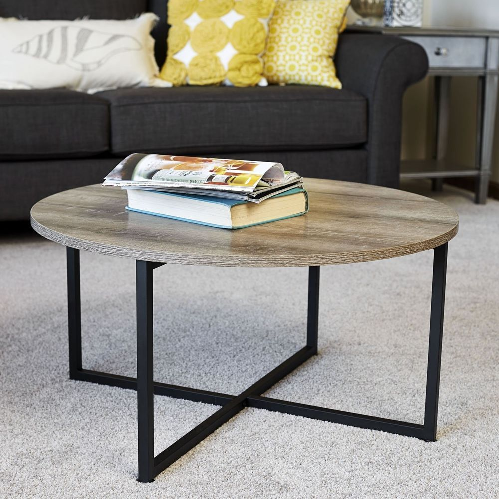 Round wooden coffee table modern gray cocktail stand living room
