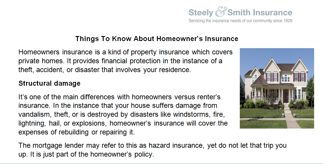 How Homeowners Insurance Works Steelyandsmith Insurance Agency