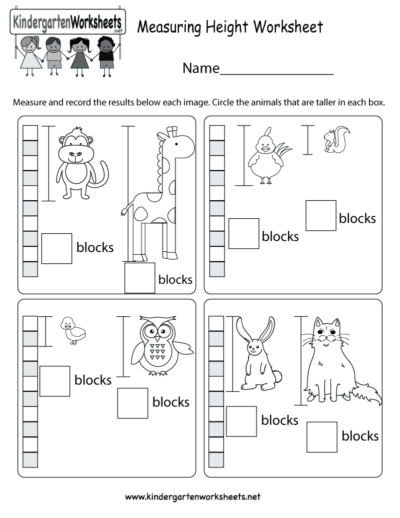worksheet Measurement Worksheets For Kindergarten kids can learn a very basic way to measure height in this free measuring worksheet kindergarten math for kids
