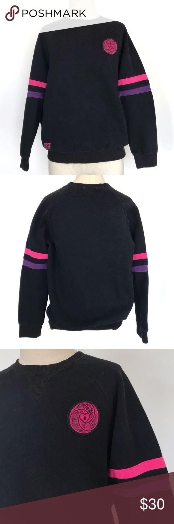 """Dutch Bros Dutch Luv Sweatshirt Dutch Brothers Dutch Luv black sweatshirt with purple and pink  Women's size extra large - refer to measurements  Condition- pre-owned 