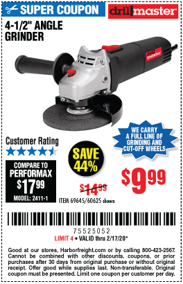 Drill Master 4 1 2 In 4 3 Amp Angle Grinder For 9 99 In 2020 Harbor Freight Tools Angle Grinder Drill