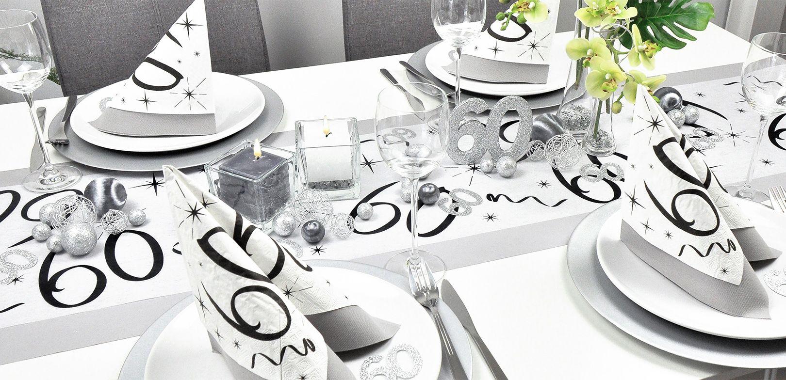 Tischdekoration 60 Geburtstag Aluminium Silber Tischdeko