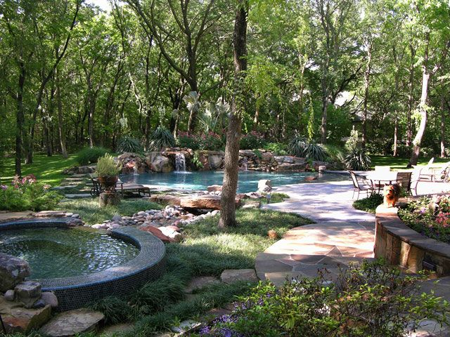 Natural Looking Backyard Pools | ... With Oversized Salt Water Pool And  Waterfalls With