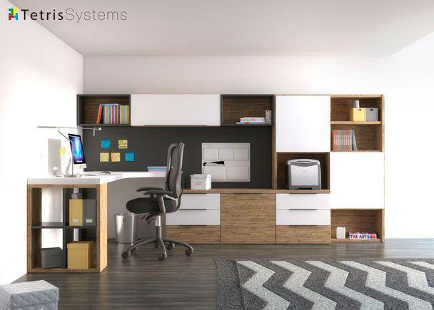 Dormitorio juvenil Zona de estudio con mesa personalizada y buffet