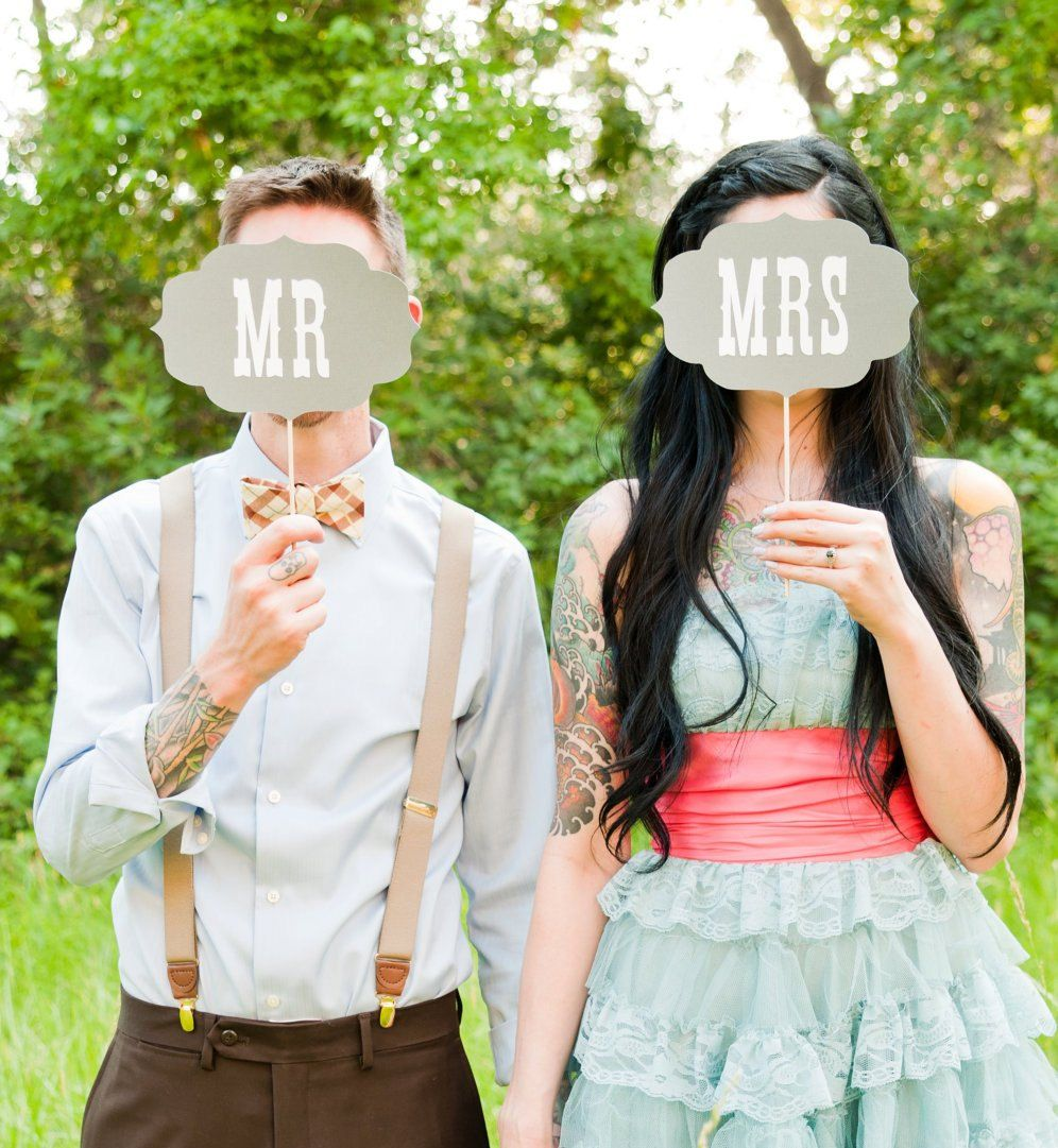 Celebrations - Photobooth Props - Photo Booth Prop. Mr and Mrs Wedding Signs. Photo Prop - Grey and White
