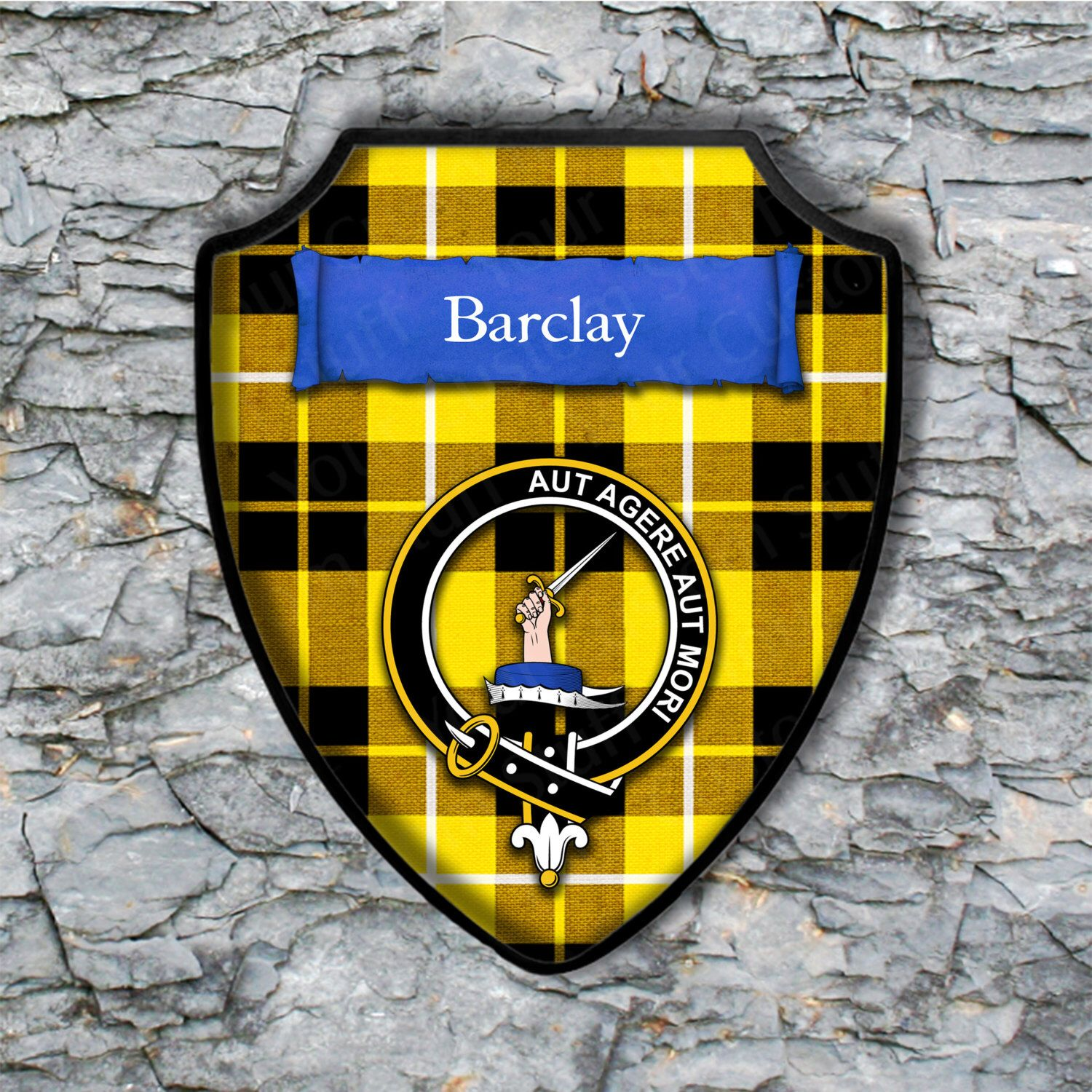 Barclay Shield Plaque with Scottish Clan Coat of Arms Badge on Clan ...