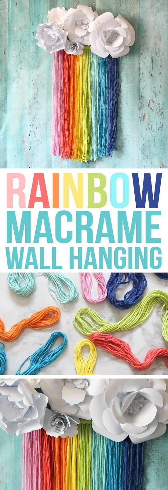 This easy rainbow craft features a rainbow yarn macrame wall hanging