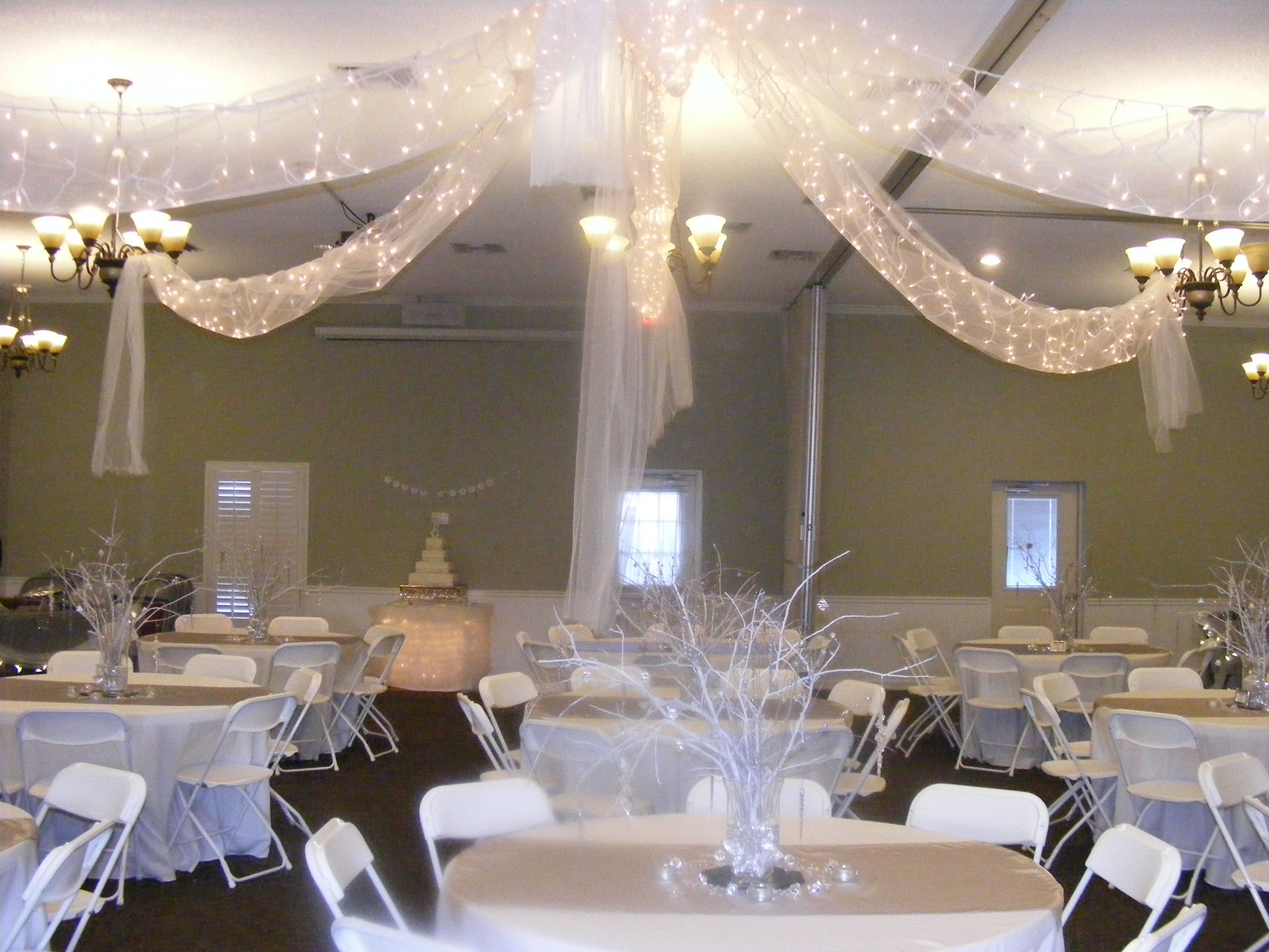 White and silver wedding reception in our church for Diy wedding reception ideas