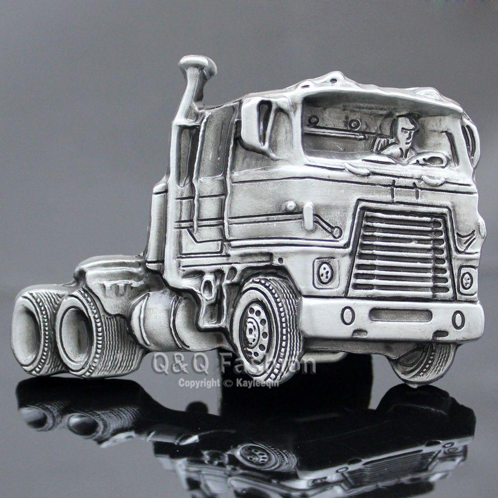 Western Men Vintage Silver American Mack Semi Truck Cowboy Trucker Belt Buckle W | eBay