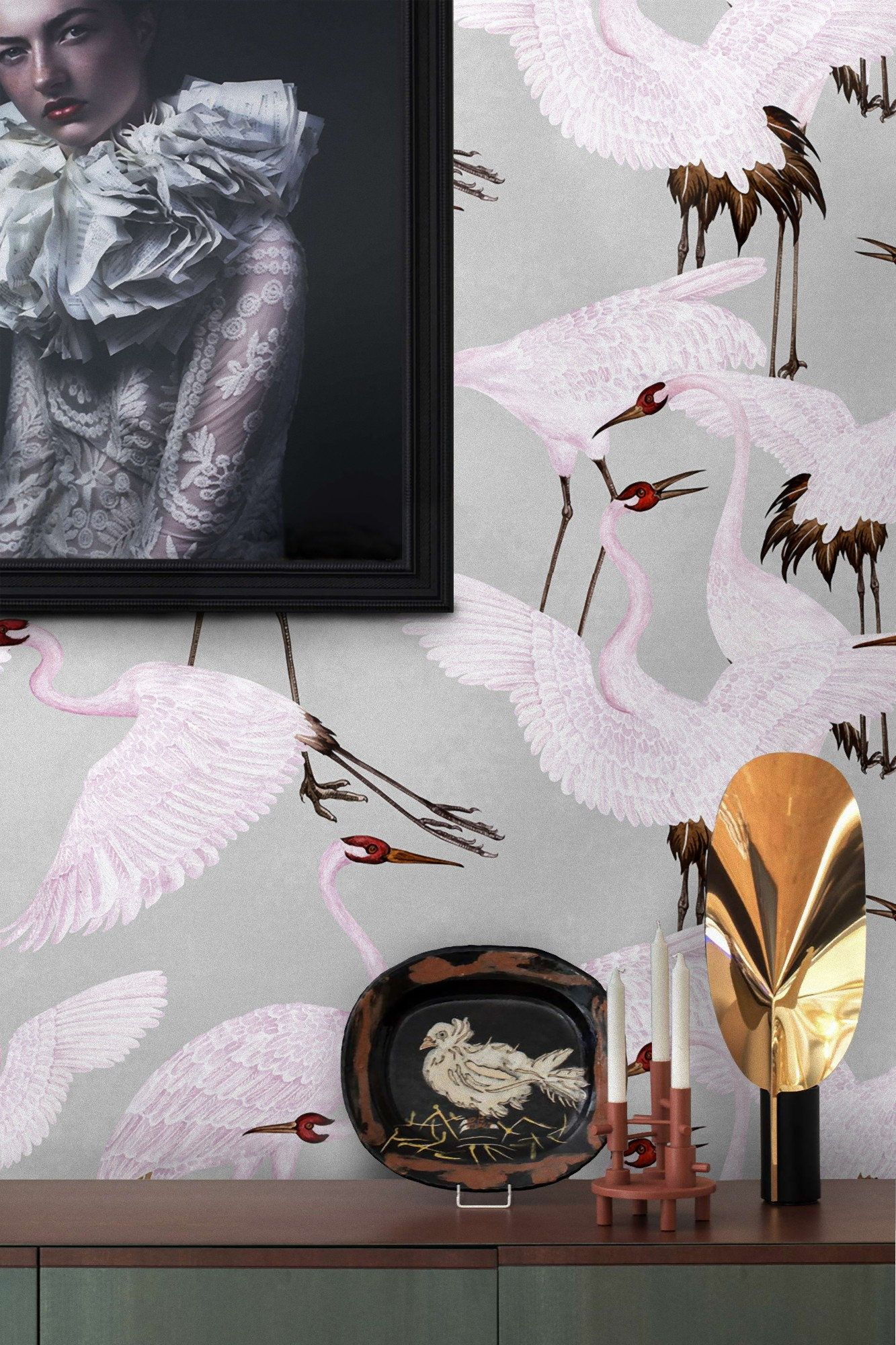 Heron print wallpaper, Chinoiserie Wallpaper, Gucci