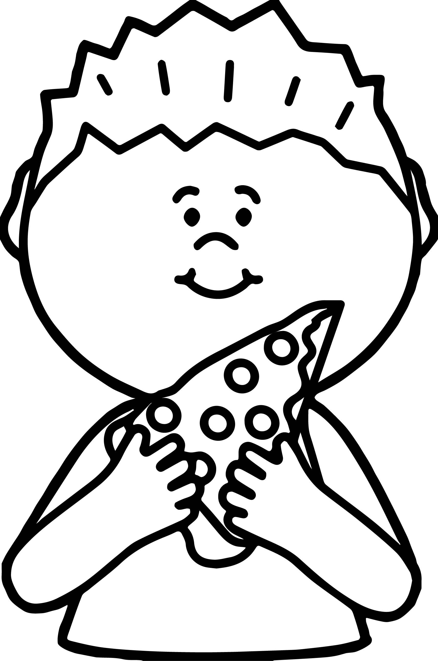 Awesome Boy Eating Pizza Coloring Page