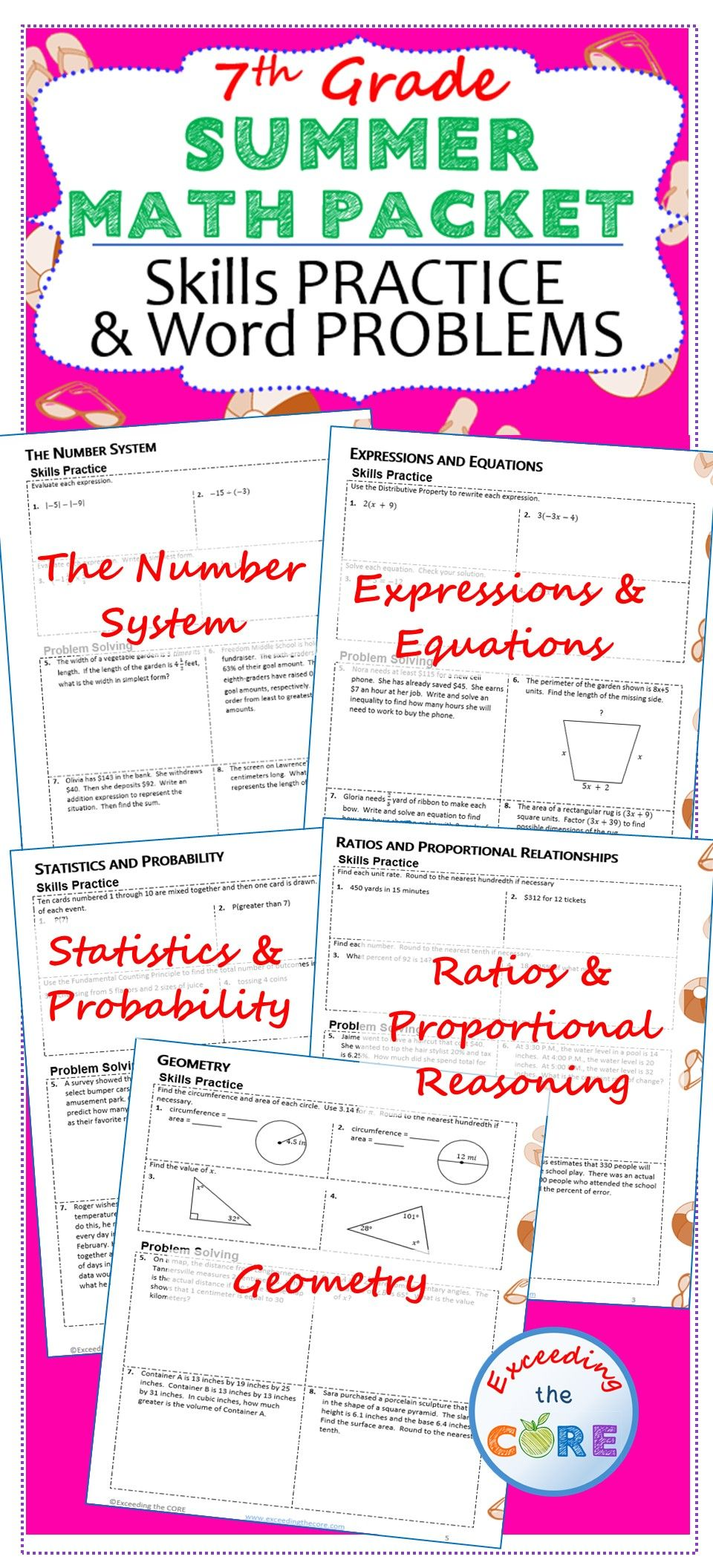 hight resolution of 7th Grade SUMMER / June - July MATH PACKET - { COMMON CORE Assessment }    Math packets