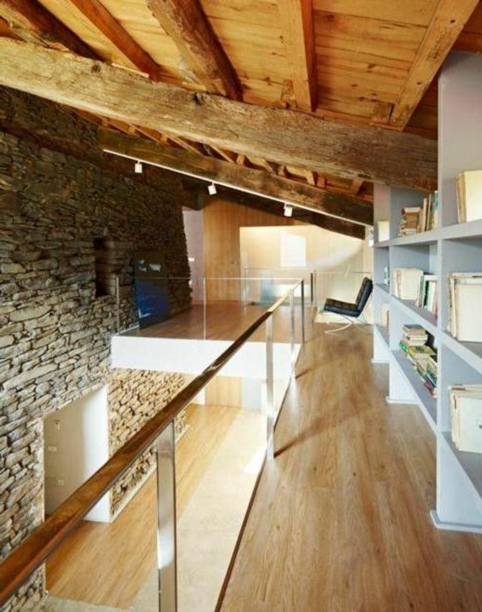 Le mur en pierre apparente en 57 photos! Mezzanine - mur en bois interieur