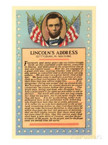 Lincoln With Text Of Gettysburg Address Posters With Images