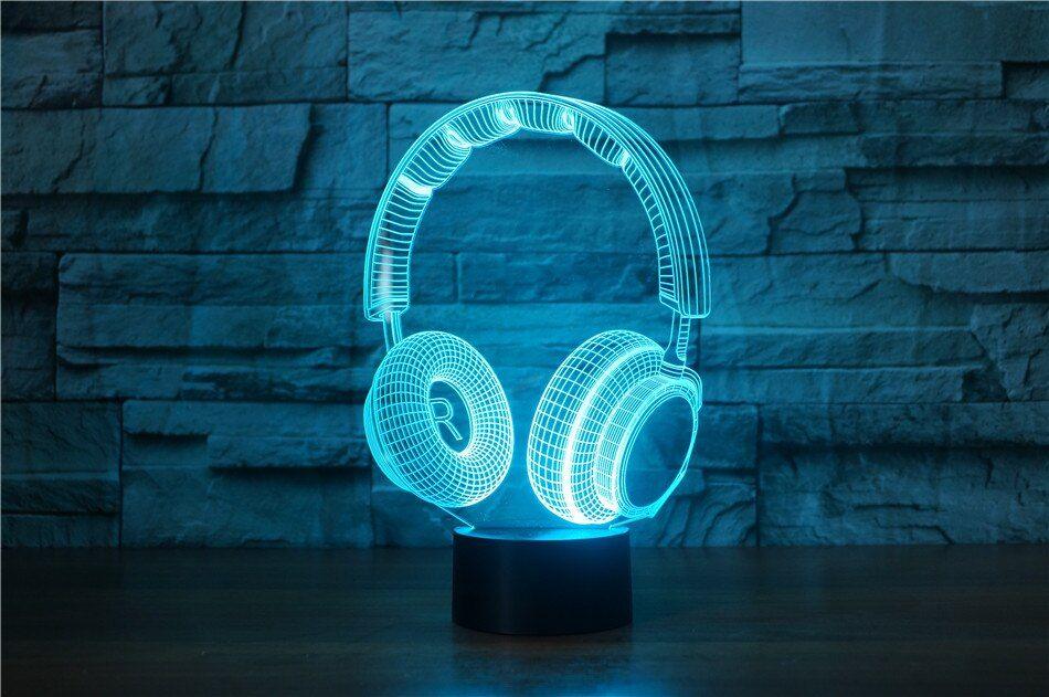 3d Dj Headphone Illlusion Lamp In 2020 Usb Lamp 3d Optical Illusions Custom Photo Pillow