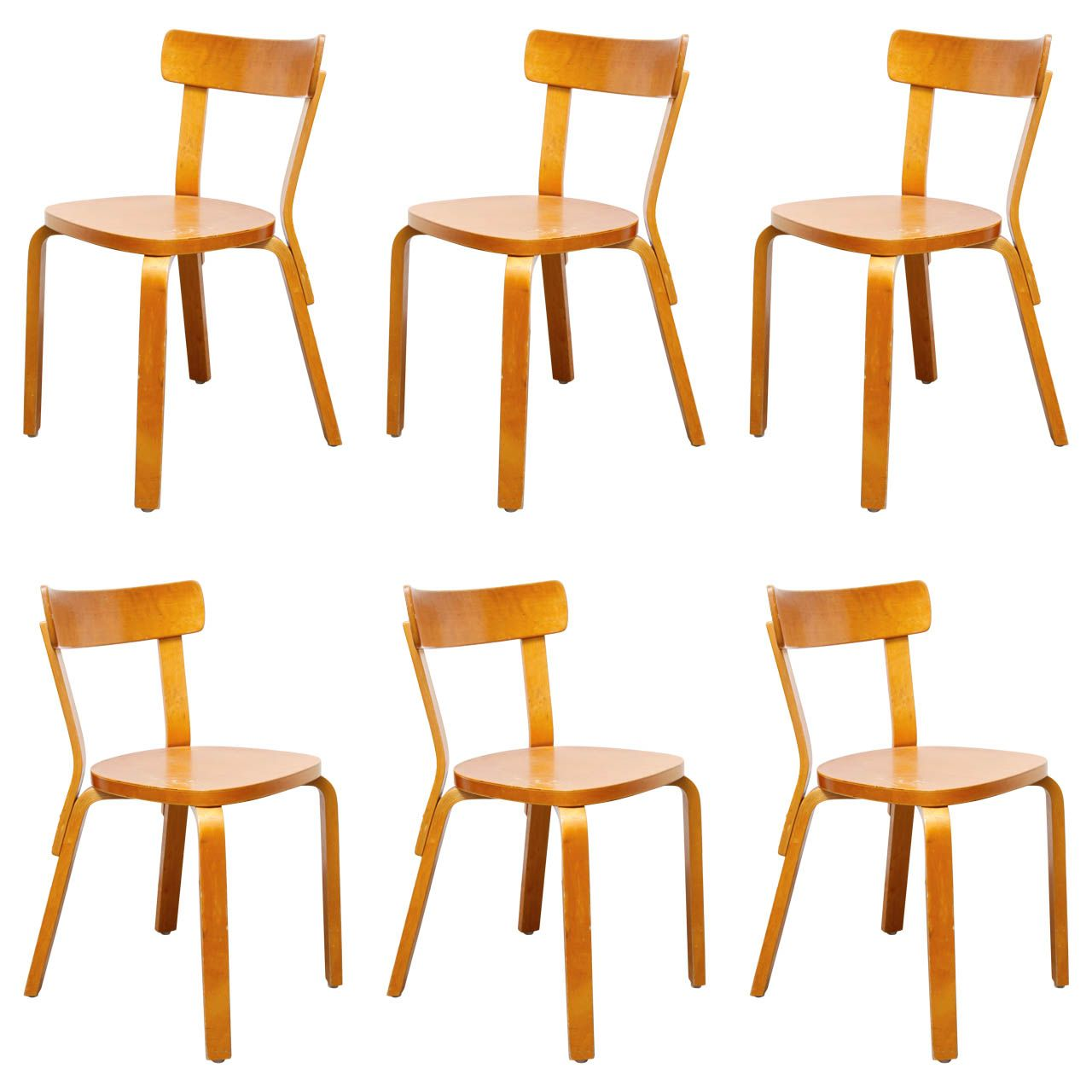 Set of 6 Side Chairs by Alvar Aalto | From a unique collection of antique and modern dining room chairs at http://www.1stdibs.com/furniture/seating/dining-room-chairs/