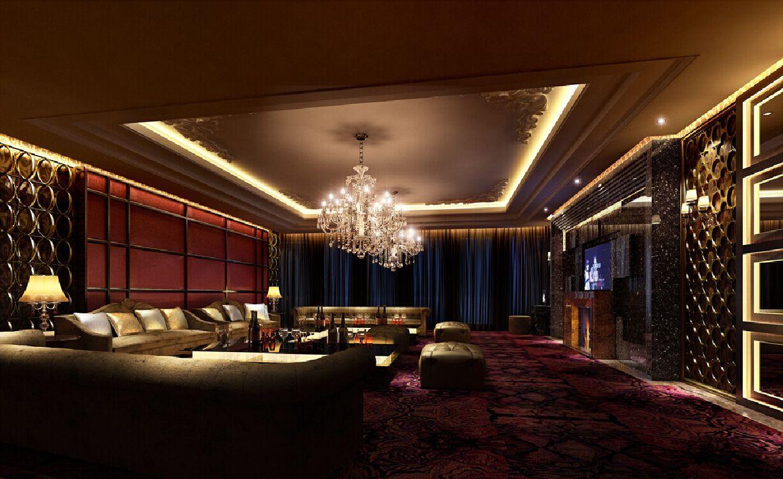 Night rendering of luxury ktv room with fireplace nightclub bar nightclub design bar areas