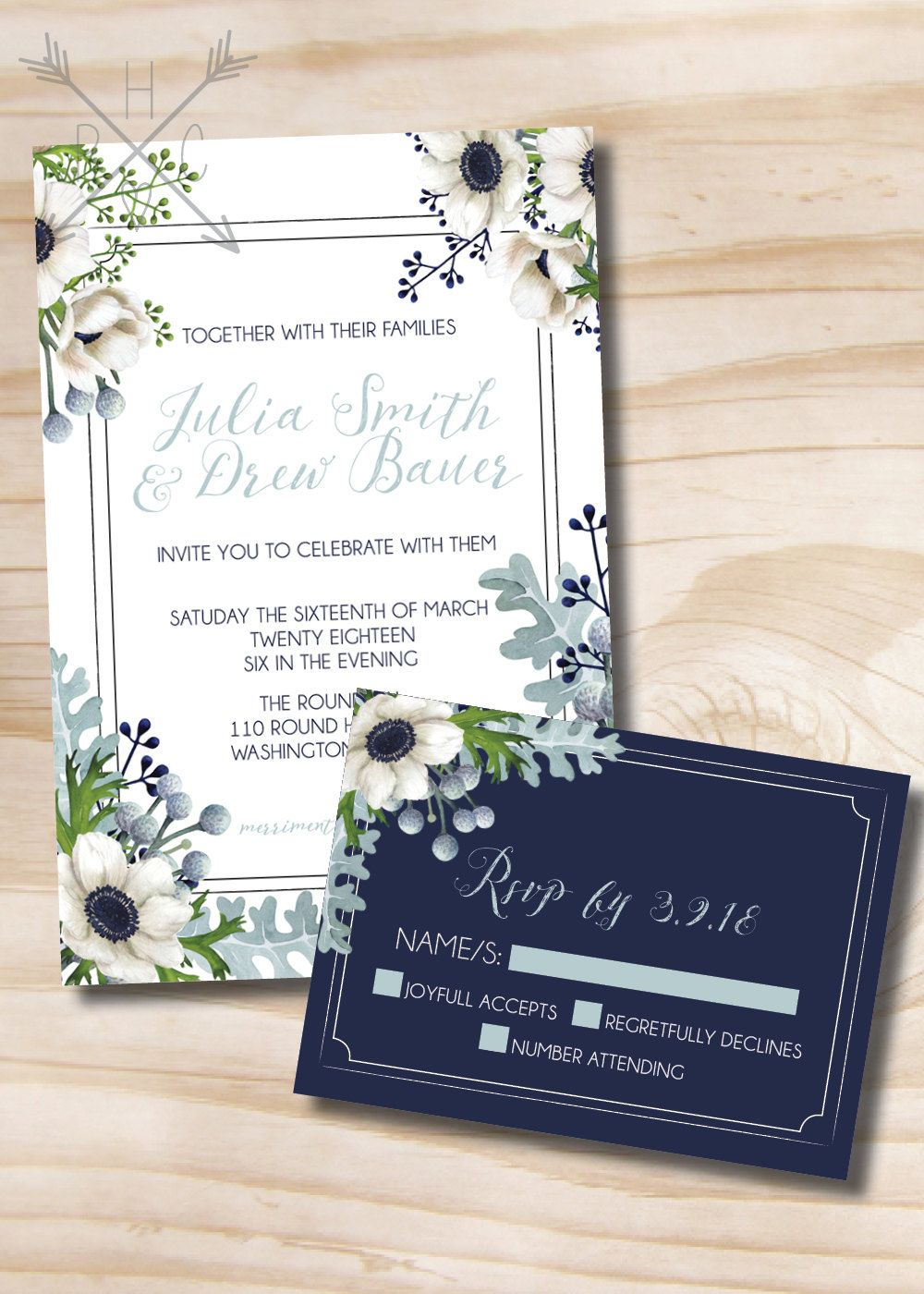 Rustic Anemone and Dusty Miller Greenery Wedding Invitation and RSVP ...