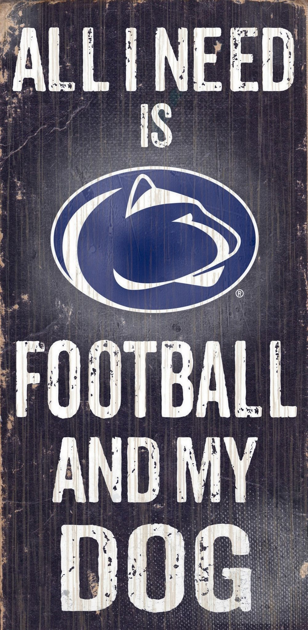 "Penn State Nittany Lions Wood Sign Football and Dog 6""x12"""