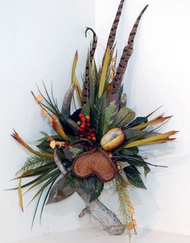 Feather and Deer Antler Floral Wallpiece