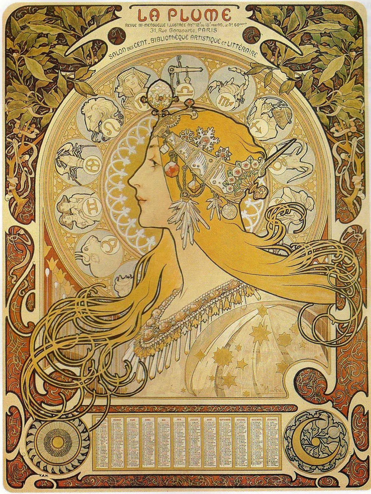 Alphonse Muchas famous Art Nouveau poster Zodiac, also known as La ...