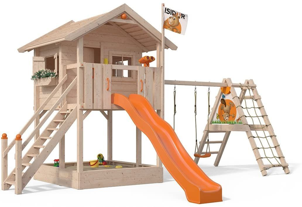 Isidor Spielturm Fridolino Erweitertem Schaukelanbau Mit Xxl Rutsche In Orange Sandkasten Balkon Und Sich In 2020 Backyard Play Spaces Play Houses Play Area Backyard