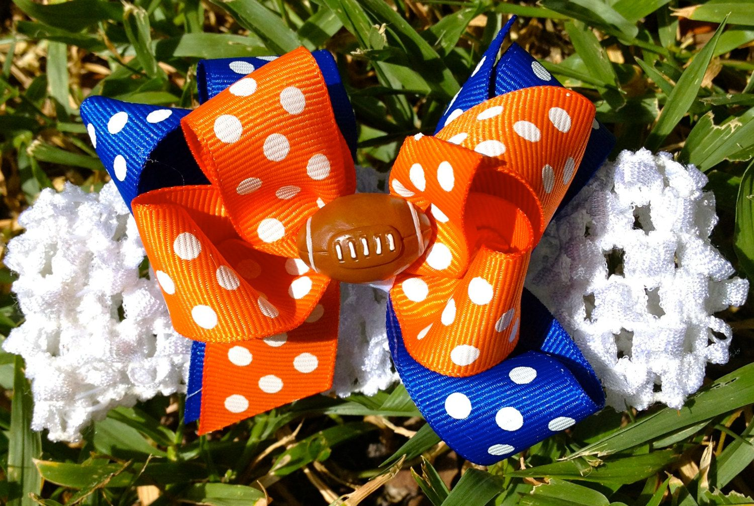 Florida Gators Baby Girl Football Hair Bow/  by CandyCoatedKids, $6.00