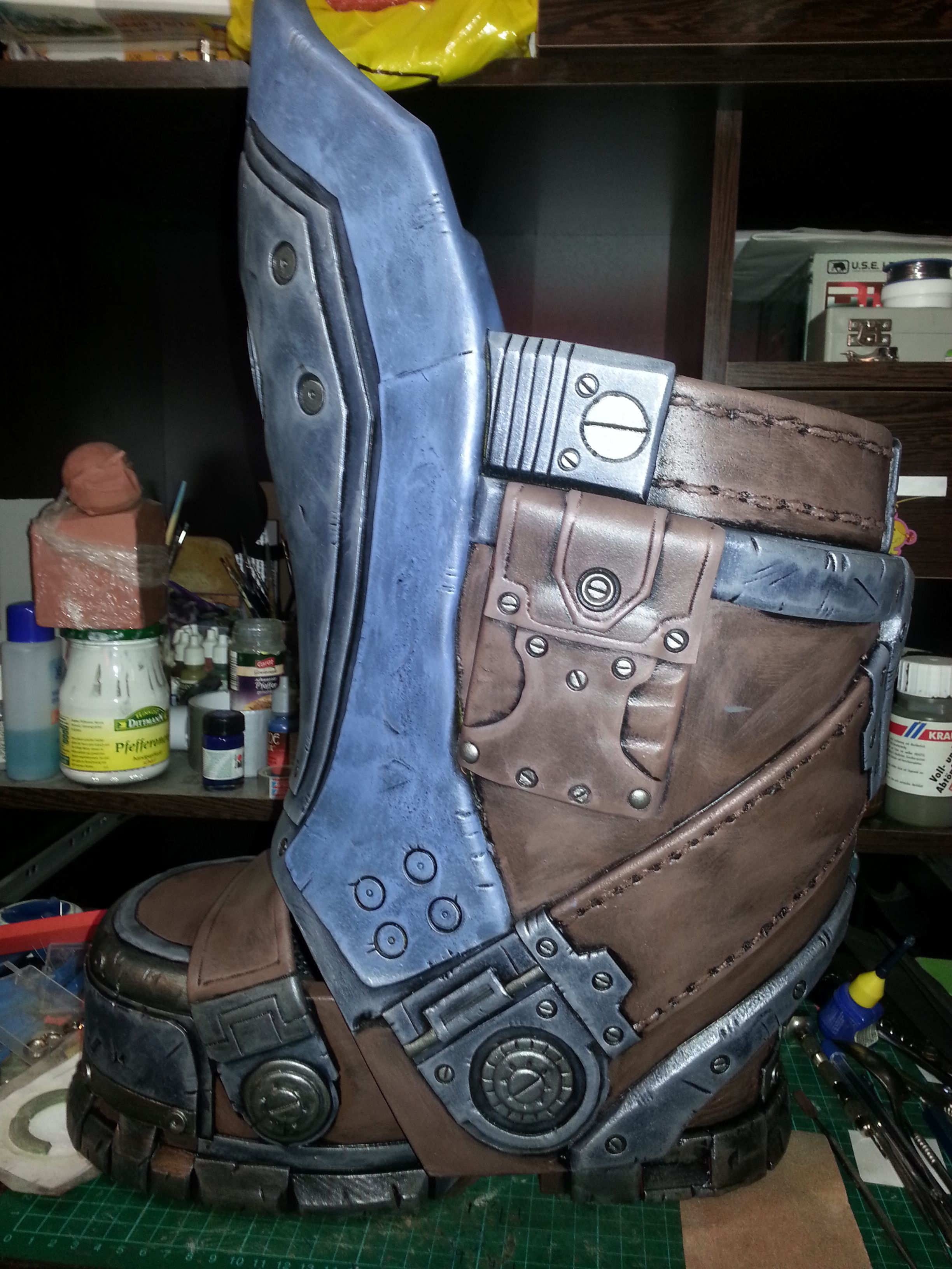 first try with eva foam armor boots carmine clayton cosplay