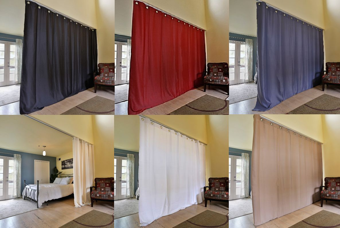room divider panel curtain solid unlined eclipse blackout drape