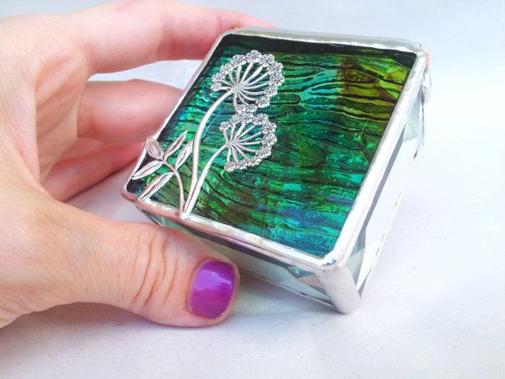 Green/Brown Dandelion Ring Box  Stained Glass Box by SKDGalerie, $24.75