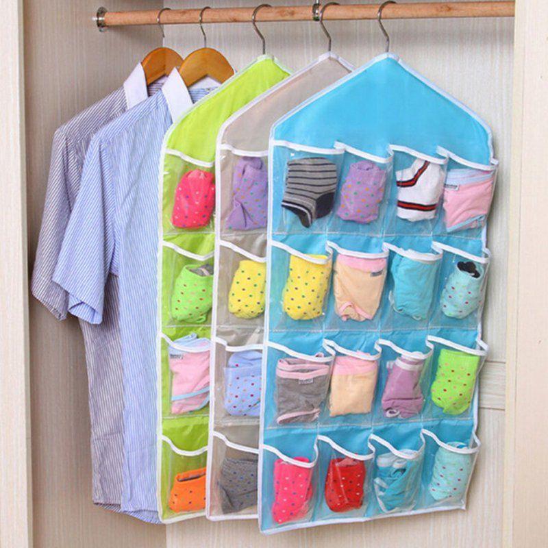 스토리지 가방 두꺼운 새로운 다기능 문 벽 매달려 투명 양말 화장품 속옷 옷장 주최자 가방 도매