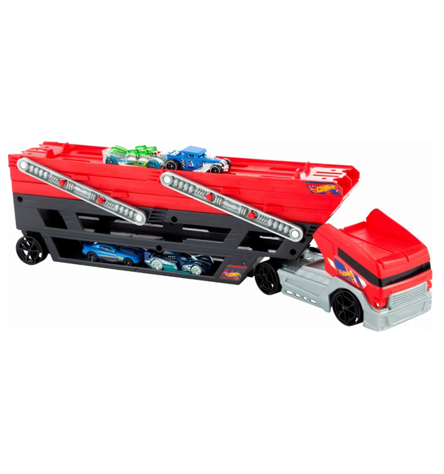 Hot Wheels Mega Hauler Truck With 4 Cars Hot Wheels Hot Wheels Cars Trucks