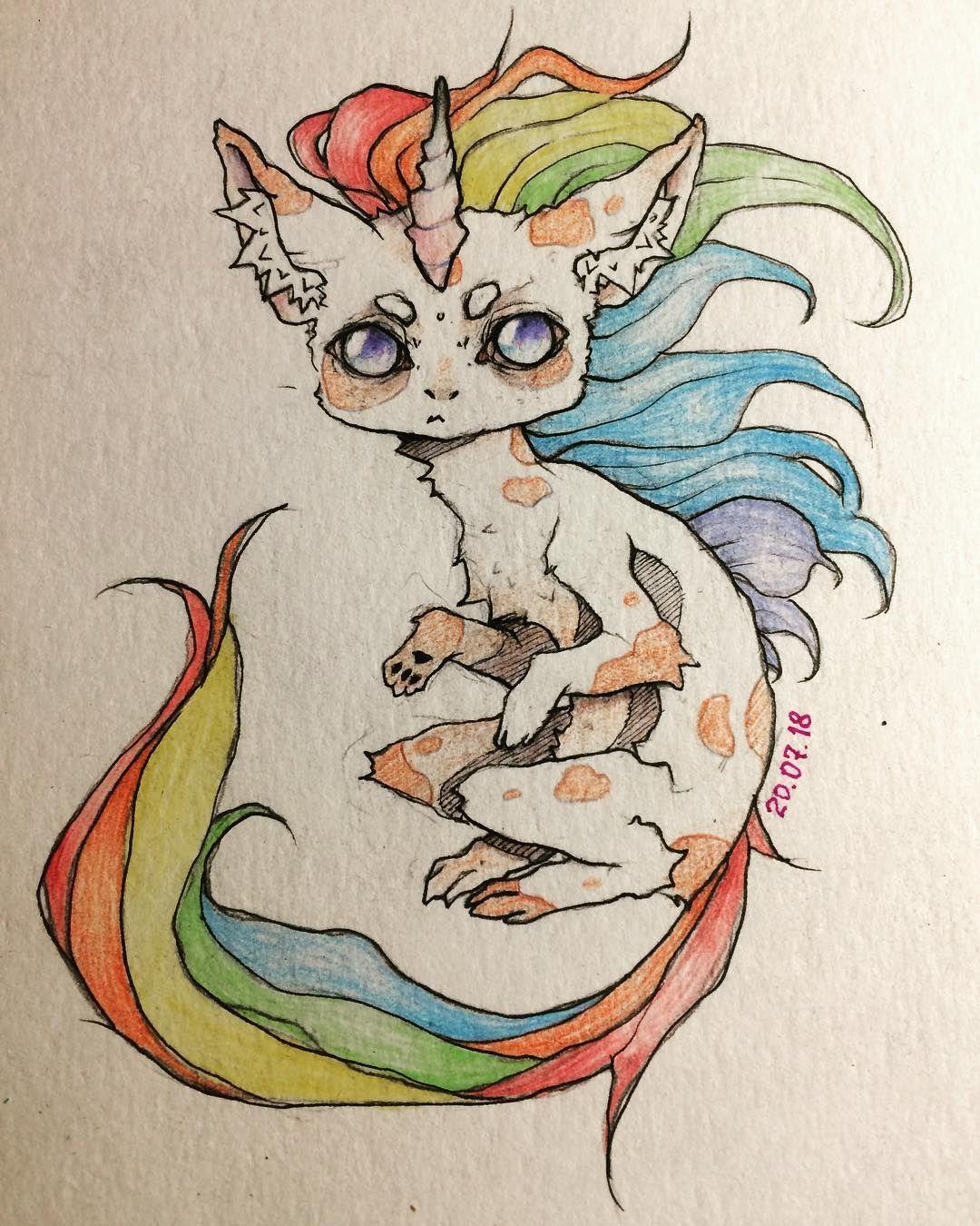 Рисуночек арт аниме радуга единорог котик кот
