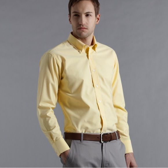 Banana republic Men's yellow relaxed fit Men's yellow dress shirt ...