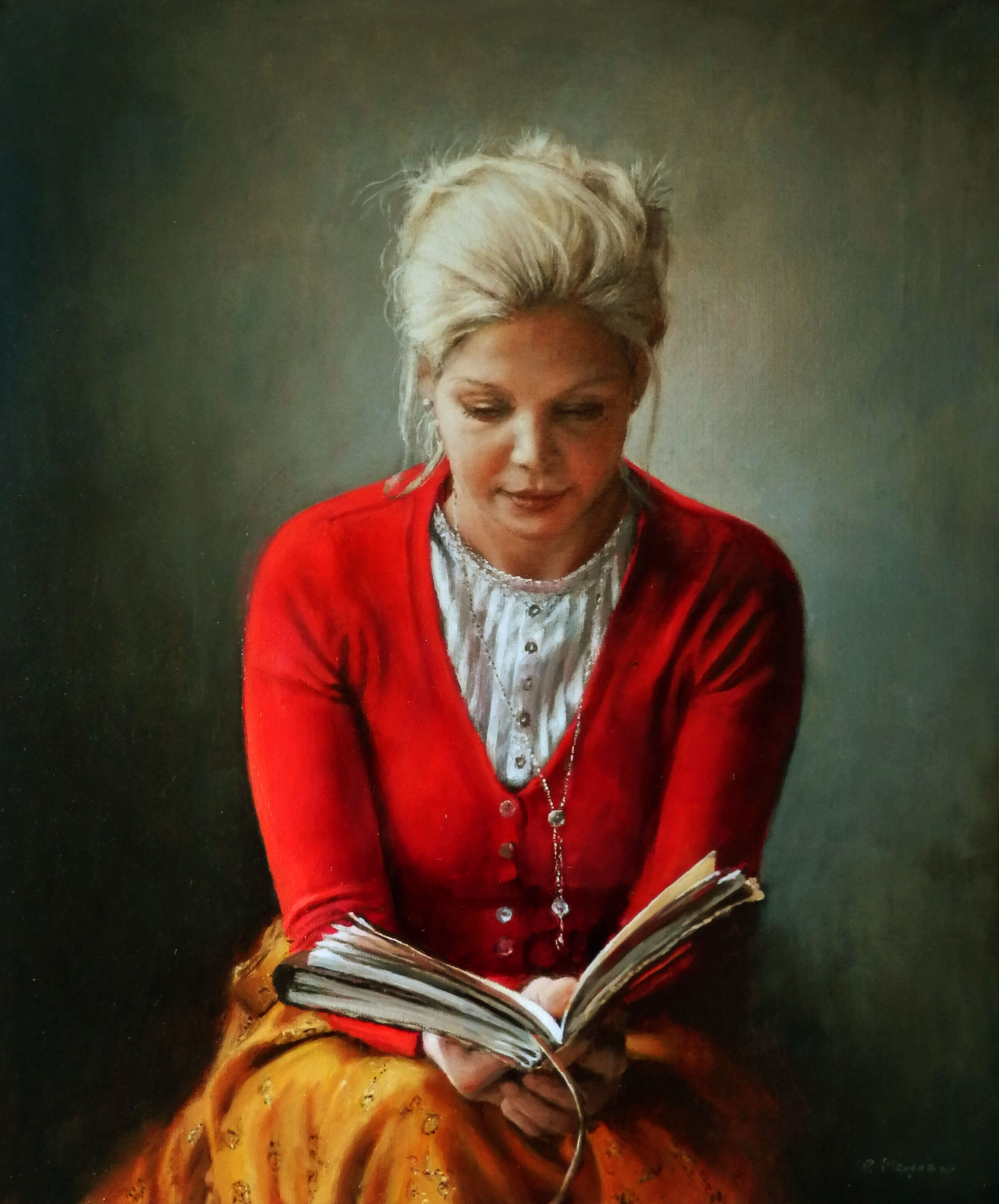 woman reading a book 50 x 60 cm oil on linen 2012