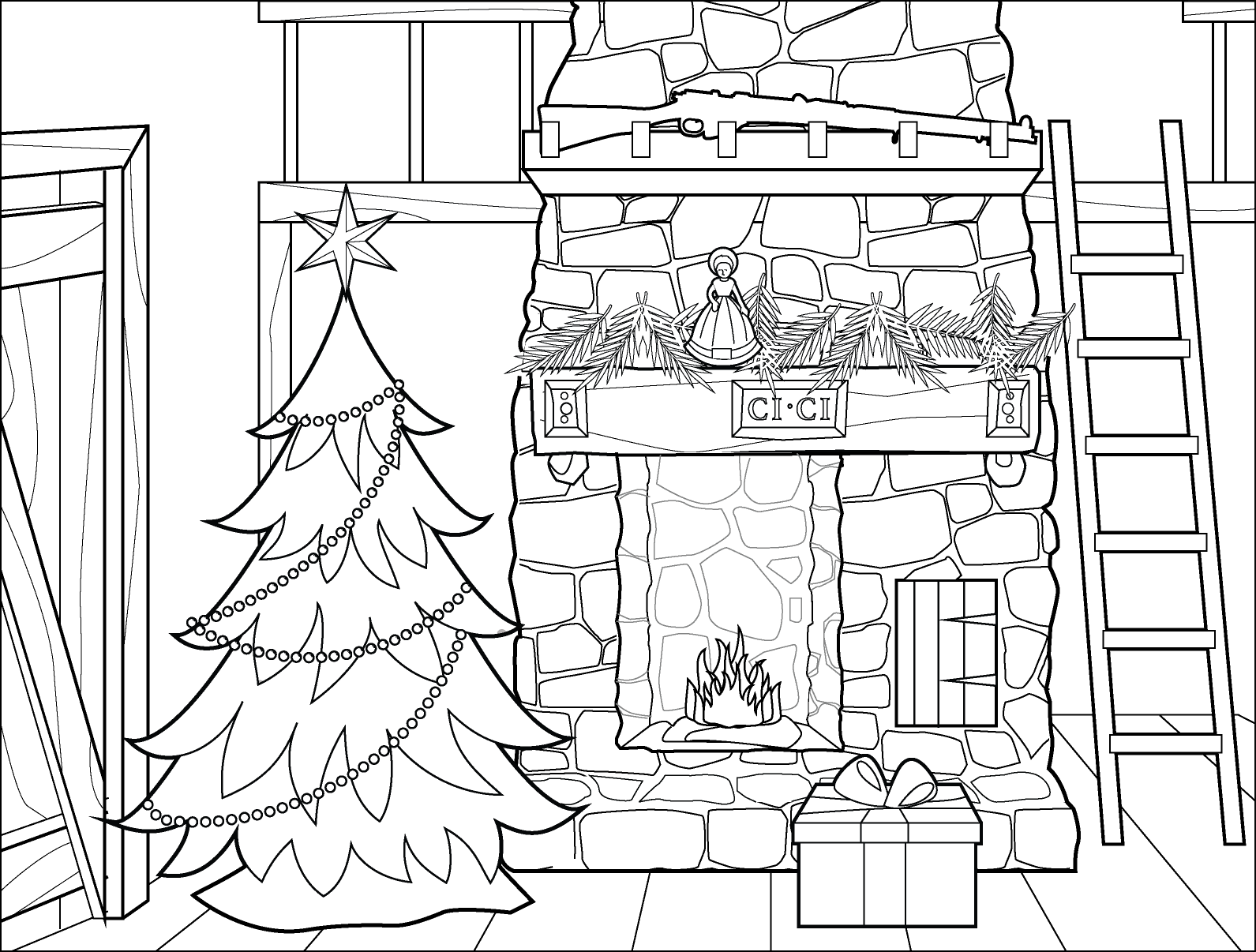 Little House On The Prairie Christmas Tree Coloring Page Christmas Tree Coloring Page Tree Coloring Page Coloring Pages