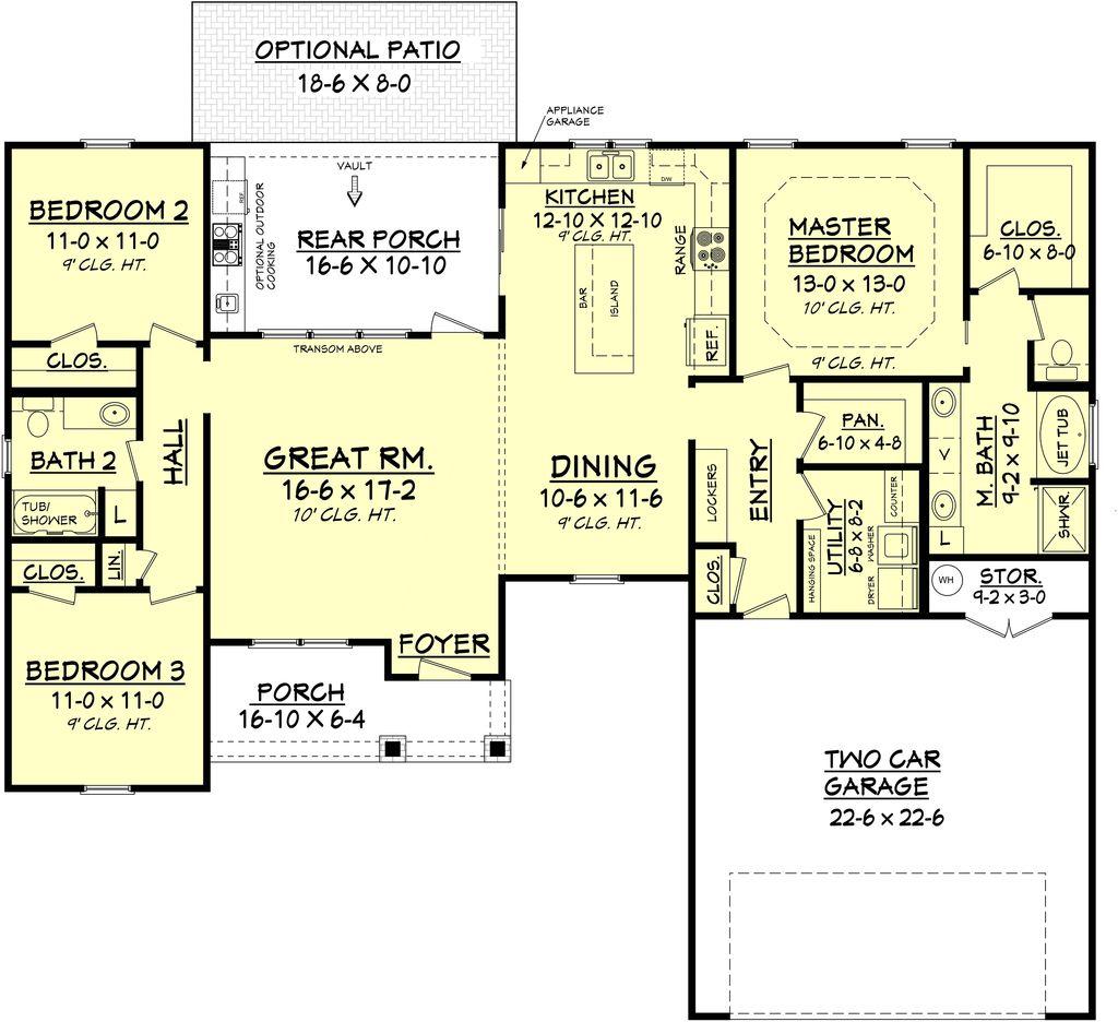 Farmhouse Style House Plan 3 Beds 2 Baths 1609 Sq Ft