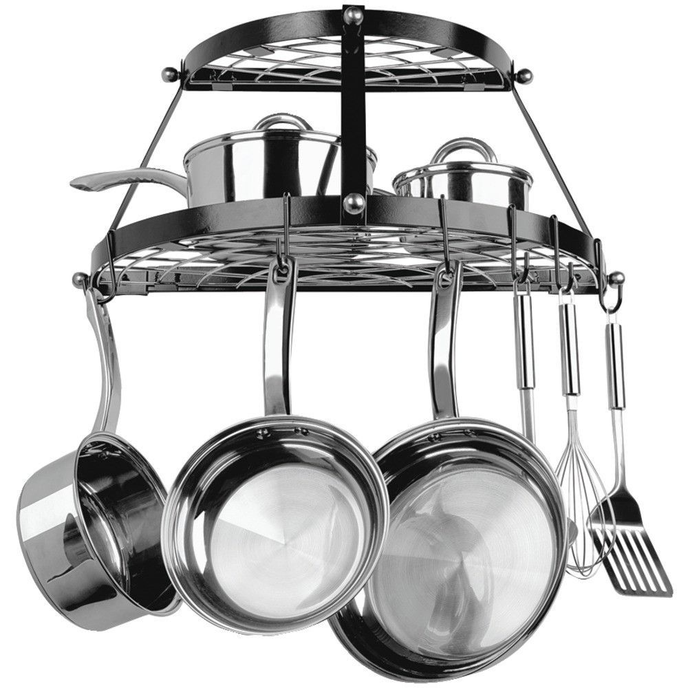 storage in a small kitchen range kleen shelf wall mount pot rack black 8377